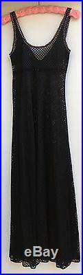 Glydons Hollywood Vintage Black Mesh With Pink Accents Gown Slip Dress USA Medium