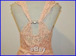 Gorgeous 1930's Peach Lace Dress w Cape / Slip / Rhinestones SM