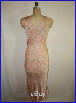 Gorgeous Vintage 1930s Silk Floral Printed Bias Cut Slip Dress Nightgown