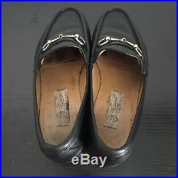 Gucci Horsebit Loafers US Size 11 Black Leather Gold Slip On Dress Shoes Vintage