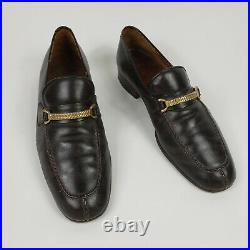 Gucci Mens 43S Antique HorseBit Brown Leather Loafers Slip On Made In Italy