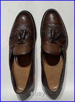 Gucci Mens Timeless Vtg NWOB Brown Leather Wingtip Brogue Slip On's 8 38
