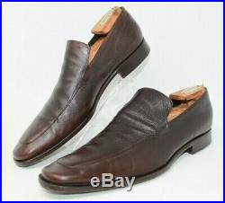 Gucci Size 9 D Brown Leather Men's Slip On Loafers 108414 Made in Italy Vintage
