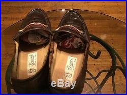 Gucci Vintage GG Dark Brown Leather Size 41.5 M 8 1/2 USA Slip-On Shoes