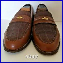 Gucci Vintage GG Horsebit Two Tone Brown Slip On Leather Loafers Sz. 44.5 M US 11