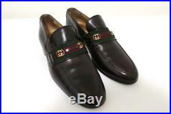 Gucci Vintage GG Web Loafers Dark Brown Leather Size 40.5 M Slip-On Shoes