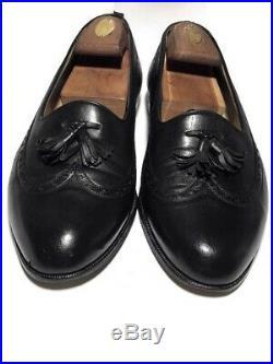 Gucci Vintage Mens Black Leather Tassel Wingtip Slip On Loafers Size 42.5 D