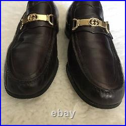 Gucci Vintage Mens Slips On/Loafers Brown Leather Shoes size 42.5 US 9