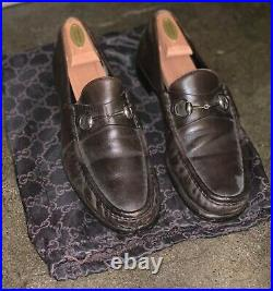Gucci Vintage Slip-on Leather Dress Loafers with Gold Buckle Brown Sz 10.5 D