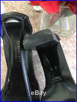 Gucci Vintage Square Heels Black Leather Slip On Strap Block Heels US 8B