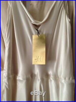 H&M Cream Cupro Satin Slip Cami Maxi Wedding Dress 8-10 36 Vintage Ghost Style