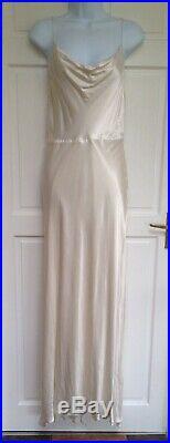 H&M Cream Cupro Satin Slip Cami Maxi Wedding Dress 8-10 36 Vintage Style £119