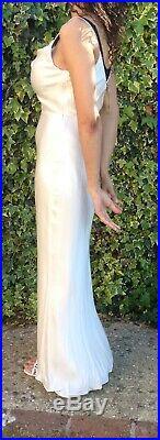 H&M Cream Cupro Satin Slip Cami Maxi Wedding Dress 8-10 36 Vintage Style AW18