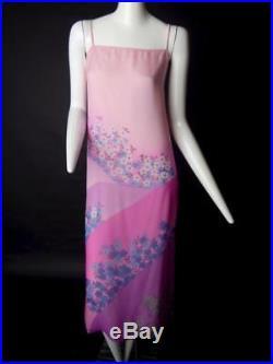 HANAE MORI-1980s Pink Floral Chiffon Slip Dress, Size-12