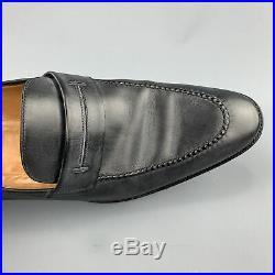 HERMES Size 12.5 Black Antique Leather Slip On Loafers