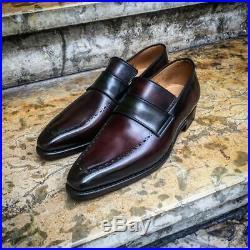 Handmade Maroon Black Moccasin Loafer Slip on Vintage Genuine Men Leather Shoes