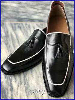 Handmade Men's Black Square Cap Toe Slip On Tassel Dress Leather Shoes Custom