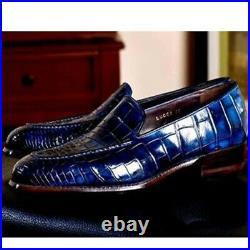 Handmade Men's Blue Color Loafer Slip On Real Crocodile Leather Dress Shoes