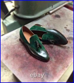 Handmade Men's Green Tassle Loafer Slip On Suede & Leather Dress Shoes Custom