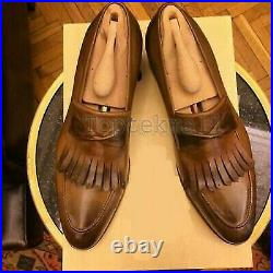 Handmade Men's Leather Fringes Casual Vintage Loafers and Slip Ons Shoes-410
