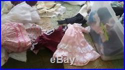 Huge LOT OF ANTIQUE VINTAGE DOLL clothing DRESSES SLIPS CLOTHES MORE 27 pounds