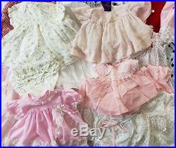 Huge Lot Vintage Baby Girl Dresses Bonnets Panties Slip Cute Infant NB-24 months