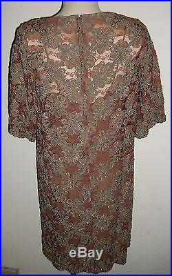 I. Magnin Brown Slip Dress with Green Rust Textured Lace Dress Set Vtg Sz Med
