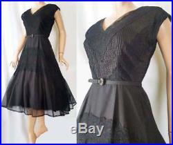 INCREDIBLE Vtg 1950s Organza Lace Pin-Tuck Full Skirt Dress w Slip Crinoline S-M