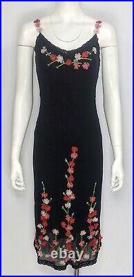 Iconic BETSEY JOHNSON Vintage Sz 4 Silk Mesh Slip Dress withRibbon Rosette Accents