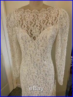 Ivory Beaded Vintage SHEATH WEDDING DRESS by Alfred Angelo Bateau Neck + Slip