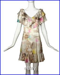JOHN GALLIANO-1990s Multi Color Ruffle Silk Print Dress, Size-8
