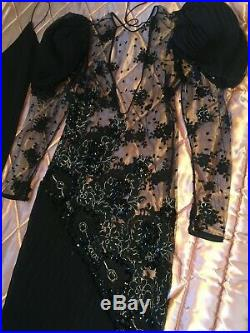 JUDY HORNBY COUTURE Vintage DRESS & Slip Worn to 1974 Academy Awards Excellent M