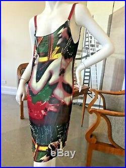 Jean Paul Gaultier Classique Rare Vintage Slip Dress With Unusual Nude Print