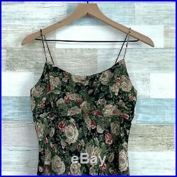 Jessica McClintock Gunne Sax Maxi Slip Dress Black Green Floral VTG Womens 8