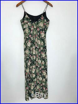 Jessica McClintock Gunne Sax Maxi Slip Dress Dark Floral Vintage Womens 7/8