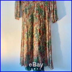 Jigsaw Vintage Maxi Dress with green silk slip, Size 8, Floral Pattern