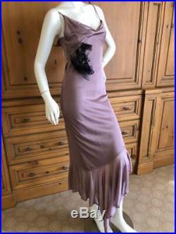 John Galliano 1990's Bias Cut Mauve Knit Slip Dress with Lace Embellishmen