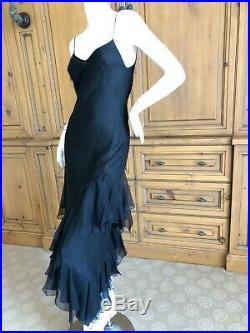 John Galliano Sultry1990's Bias Cut Black Slip Dress with Flamenco Ruffles