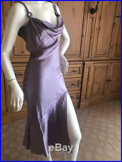 John Galliano Vintage 90's Bias Cut Lavender Slip Dress w High Slit