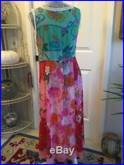 Johnny Was Sheer Long Print Silk Slip Dress size M