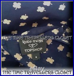 KATE MOSS VINTAGE 40s WW2 TOPSHOP NAVY BLUE BEIGE CLOVER TEA DRESS & SLIP UK 10