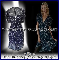 KATE MOSS VINTAGE 40s WW2 TOPSHOP NAVY BLUE BEIGE CLOVER TEA DRESS with SLIP UK 8