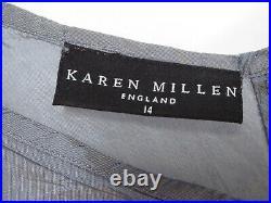 Karen Millen Rare Vintage Cream Silver Lace Cocktail Pencil Slip Dress Uk 14