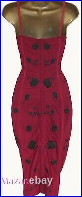 Karen Millen Sexy Vintage Embroidered Red Rose Wiggle Corset Slip Dress Uk 8