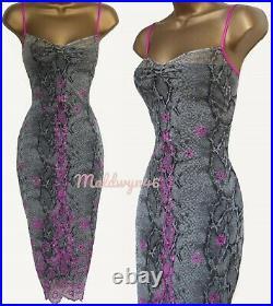 Karen Millen Vintage Sexy Embellished Snake Skin Mesh Wiggle Slip Dress Uk14