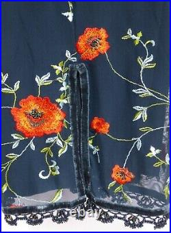 Karen Millen Vintage Sexy Embroidered Floral Mesh Wiggle Slip Dress Uk12