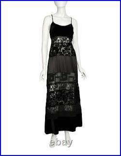 Katharine Hamnett Vintage 1993 Black Lace Satin Velvet Devore Maxi Slip Dress