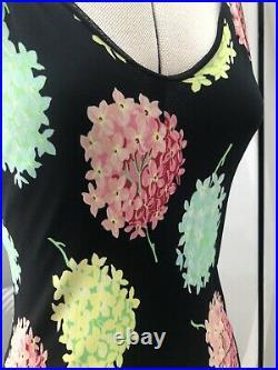 Kenzo Black & Green Yellow Pink Floral Midi Dress W Straps Size S, Vintage