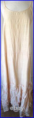 Krista Larson Apricot Embroidered Cotton Tsunami Long Wavey Slip Vintage Style