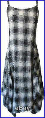 Krista Larson Black/Gray Plaid Flannel Long Pinwheel Slip Vintage Style